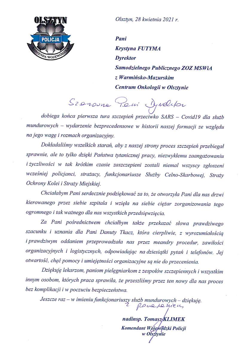 Podziękowania Komendanta Wojewódzkiego Policji